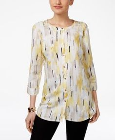 Jm Collection Abstract-Print Roll-Tab Blouse, Only at Macy's - Yellow XXL