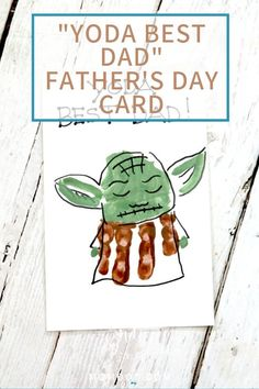What I love about hand printing is that every time you make a hand print card or art, it's like a snap in time of your child's size. Dads will especially love this creative hand print of Yoda! You'll love that it's so easy for kids to learn how to make at Daycare Crafts, Baby Crafts, Toddler Crafts, Diy Gifts For Dad, Footprint Crafts, Handprint Art, Crafts For Kids To Make, Kids Crafts, Father's Day Diy