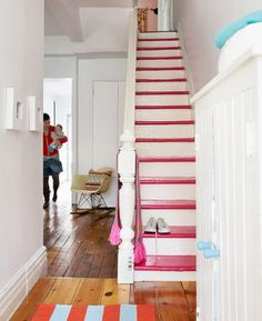 "5 Painted Staircases That Will Blow Your Mind ""Stairs"", ""staircase"", ""interiors"", ""design"", ""Painted""] Painted Staircases, Painted Stairs, Style At Home, Deco Cool, Painted Wood Floors, Stairways, Home Fashion, Interior Inspiration, Home And Family"
