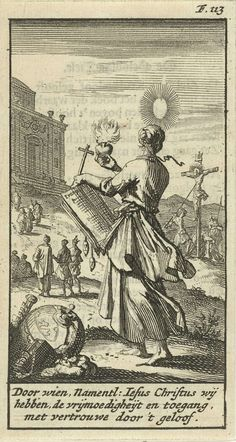 Jan Luyken   Vrouw aanschouwt met een brandend hart, een crucifix en het evangelie in haar handen de gekruisigde Christus, Jan Luyken, Gijsbert de Groot, 1691   Prent rechtsboven gemerkt: F. 113.