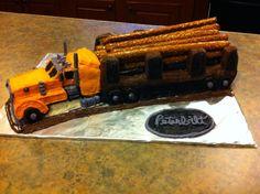 3D Log Truck with Pretzel and buttercream