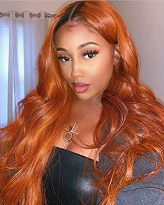 Lace Front Wigs Human Hair Pre Plucked Ombre Orange Colored Lace Front Human Hair Wig For Women Ginger Blonde Hair, Ginger Hair Color, Hair Color For Black Hair, Indian Hairstyles, Weave Hairstyles, Straight Hairstyles, American Hairstyles, Orange Ombre Hair, Ombre Hair Color