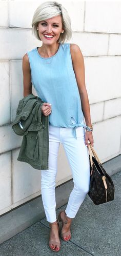 summer outfits Blue Tank + White Skinny Jeans