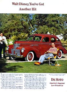 1939 Walt Disney with his De Soto car print ad by catchingcanaries Walt Disney, Disney Parks, Disney Pixar, Vintage Advertisements, Vintage Ads, Dodge, Desoto Cars, Automobile, Walter Elias Disney