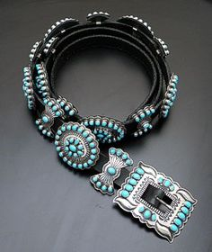 Andy Cadman - Sleeping Beauty Turquoise & Sterling Silver Concho Belt - Gorgeous!