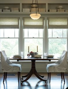 these Lutron Roman shades look much nicer than just having a flat shade, you know? This could look cool under a more poofy pink roman shade? Motorized Shades, Overhead Lighting, Dining Room Lighting, Lighting Solutions, Dining Room Design, Look Cool, Light Decorations, Built Ins, Window Treatments