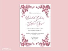 Printable Wedding invitation template Vintage Dusty Pink by Oxee, $7.00