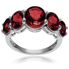 Journee Collection Sterling Oval Garnet 5-stone Ring