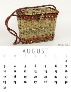 August 2014 basket calendar. willow basket purse by Katherine Lewis