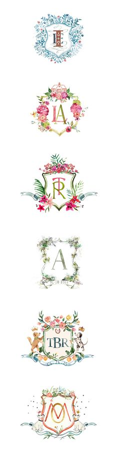 A collection of hand painted wedding crests. All crests are created with the couple's personal details and requested elements.