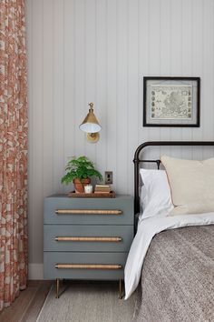 This gorgeous cottage cozy bedroom with the perfect mix of romantic cottage details and tranquil tones is perfection (image from Gallagher London). Love that sage nightstand with rattan wrapped long pulls and the gold sconce above it! Cozy Bedroom, Modern Bedroom, Master Bedroom, Contemporary Bedroom, Bedroom Ideas, Sage Bedroom, Cottage Bedroom Decor, Bedroom Beach, Bedroom Neutral