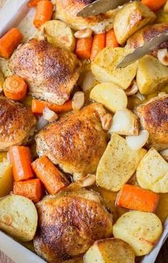 One Pot Chicken & Potatoes    One pot meals are such amazingly easy to make. And since you're using minimum cooking tools it's a time-saving recipe, as you're not going to wash a lot of dishes. This one pot chicken and potatoes makes a complete dinner dish that is easy to whip up and serves a big hungry family. Roasting together […]  Continue reading...    The post  One Pot Chicken & Potatoes  appeared first on  Electric Moondrops .