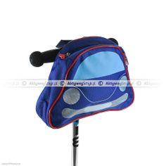 Zapinana na suwak niebieska torba z kształcie samochodu na hulajnogę, rower lub rowerek biegowy to użyteczny ekwipunek dla każdego AktywnegoSmyka...