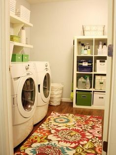 Laundry room. Love the pop of color