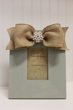 Burlap Bow with Pearl Center