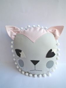 cat cushion pale pink/pale grey  made by CLOTH AND THREAD