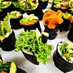 Rice Free, Fish Free: Assorted Raw Veggie Sushi & Yam Rolls Ingredients Mixed Veggie Sushi Rolls: Raw Organic Nori Rolls 3 Avocados, Sliced 1 Large Beet, Shredded 1 Bag of Sunflower Sprouts 1 Bag of Pea Sprouts 1 Bag of Red or Green Leaf Lettuce 3 Red or Yellow Bell Peppers, Sliced 2 Cucumbers, Sliced  Cauliflower Rice:   Yam Veggie Sushi 2 Medium Sized Yams, Peeled and Cubed 1 Bag of Sunflower Sprouts 1 Large Cucumber, Sliced 2 Avocados, Sliced 1 Red or Yellow Bell