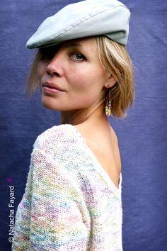 BoHo Earrings ! Large hoops, african beads, statement earrings. Yellow and cobalt blue. © Natacha Fayard