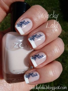 wedding french tips with blue lace - Google Search
