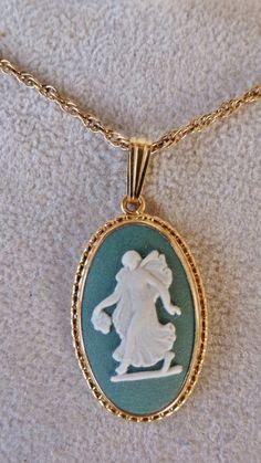 VINTAGE Wedgwood Green Jasperware Pendant Necklace by vintagelady7, $59.00