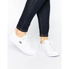 Lacoste Showcourt PIQ3 White Trainers (135 NZD) ❤ liked on Polyvore featuring shoes, sneakers, white, lacoste sneakers, lace up sneakers, white leather shoes, white shoes and leather sneakers