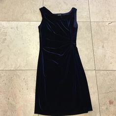 Navy blue stretchy rich velvet dress No damages. Waist gathering as shown in pic.  Taylor Dresses