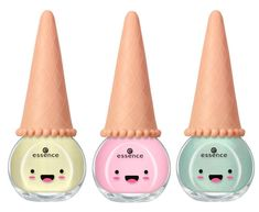 Ice cream nail polish of Essence, part of the company's 'Happy Kawaii'; innovative beauty products with sweet packaging designs in the typical kawaii style. Kawaii Nail Art, Kawaii Makeup, Cute Makeup, Cute Nail Polish, Cute Nails, Polish Nails, Little Girl Makeup Kit, Ice Cream Nails, My Little Pony Dolls