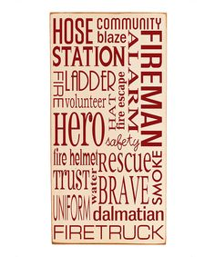 Vinyl Crafts - Cream & Red Fireman Subway Wall Plaque..LOVE THIS!! I think I will work my husband's name in this piece.
