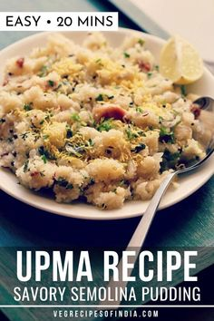 Try this easy breakfast recipe of Upma, if you are trying to change up your routine! Rava Upma is a healthy recipe that uses roasted semolina and is served with coconut chutney or lemon slices. Healthy Breakfast Snacks, Vegetarian Breakfast Recipes, Breakfast Dishes, Vegan Breakfast, South Indian Breakfast Recipes, Indian Food Recipes, Indian Snacks, Indian Foods, Indian Desserts