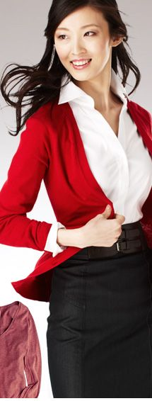 Kinda like This Bold Red cardigan w/ simple black bottoms and white top for an interview.