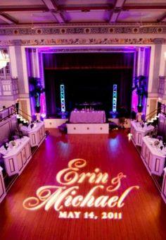 Highlight your monogram with uplights! #event lighting #rent up lights diyuplighting.com #wedding