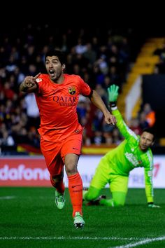 b70ef1357d Luis Suarez (L) of FC Barcelona protests to the referee after nulifying his  goal
