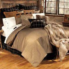 Ashbury Log Cabin Bedding collection is rustic elegance at its best. This richly detailed log cabin bedding set combines deep shades & stunning neutrals. Rustic Lodge Decor, Western Decor, Rustic Cabins, Log Cabins, Rustic Bedding Sets, Country Bedding, Cabin Furniture, Ottoman Furniture, Western Furniture