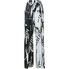 Ann Demeulemeester Printed Wide-Leg Trousers (820 CAD) ❤ liked on Polyvore featuring pants, black and white wide leg pants, summer pants, wide-leg trousers, black and white patterned pants and print pants