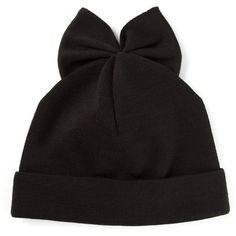 Federica Moretti Bunny Ear Beanie ($53) ❤ liked on Polyvore featuring accessories, hats, black, black beanie hat, woolen hat, wool beanie, black wool hat and wool beanie hat