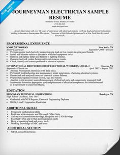 master electrician resume