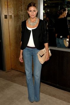 Casual Chic. Love the pairing of the necklace with the denim.