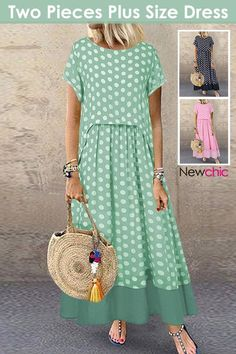 Pieces# Polka Dot Summer Plus Size Dress - Good to know - Summer Dress Outfits Funny Dresses, Funny Outfits, Nice Dresses, Plus Size Sommer, Vestidos Plus Size, Plus Size Kleidung, Summer Dress Outfits, Mode Outfits, Dress Patterns