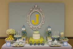 Blue-Grey & Yellow Baby shower