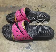 Nike Custom The Simpsons Pink Doughnut with Sprinkles Homer Donut Benassi  Swoosh Slide Sandals Flip flops Mens Womens Kids f7a798551
