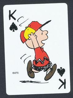 Charlie Brown Peanuts playing card single swap king of spades - 1 card