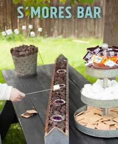 Garden party - Perfect Summer DIY for a S'mores bar on your backyard table! This is the perfect summer party show-stopper and the tabletop roasting is safer for little kids, than a fire pit. Camping Parties, Grad Parties, Summer Parties, Outdoor Parties, Summer Bash, Backyard Parties, Bachelorette Parties, Outdoor Games, Outdoor Movie Party