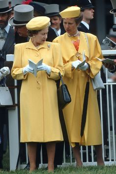 The Queen and Princess Anne wore matching buttercup yellow ensembles to the Derby at Epsom Downs in the Eighties.