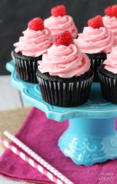 Raspberry Chocolate Cupcakes from @lifelovesugar