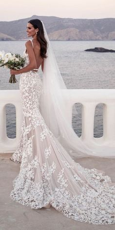 Wedding Dress Lace mermaid wedding dresses with straps low back floral blush with train steven khalil - Women's lace wedding dresses with sleeves is considered to be one of the most relevant models this season.Lace wedding dress is stylish at all times. Dream Wedding Dresses, Bridal Dresses, Blush Dresses, Dresses Dresses, Beautiful Wedding Dress, Backless Wedding Dresses, Elegant Wedding Gowns, Wedding Dress Backless, Wedding Dresses Tight Fitted