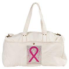 Hot Pink Awareness Ribbon Angel Duffel Bag