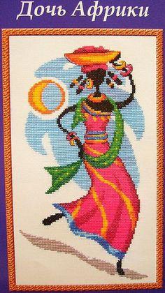 0 point de croix femme africaine - cross stitch african woman 1