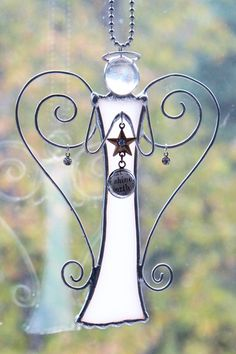 Wire and Glass Angel Suncatcher Christmas Angel by EnchantedGlass