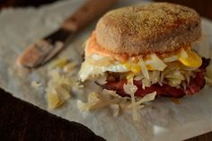 Breakfast Reuben Sandwich with Pumpernickel English Muffins from Country Cleaver | gimmesomeoven.com