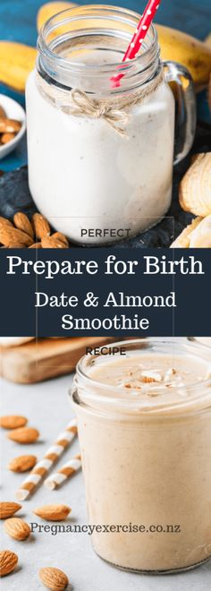 Prepare for Birth Smoothie: Date and Almond Date Smoothie Recipes, Almond Smoothie Recipe, Fruit Smoothies, Healthy Smoothies, Healthy Drinks, Healthy Recipes, Pregnancy Workout, Pregnancy Facts, Date Recipes For Pregnancy